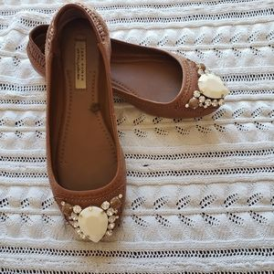ZARA women jeweled flats camel color size 38